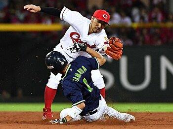 菊池涼介と山田哲人の守備数値比較。2019年、鉄壁の二塁手はどっちだ。<Number Web> photograph by Kyodo News