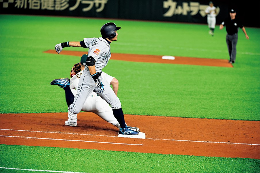 <進化を続けたイチロー>ラストプレー「3.78」。走力は最後まで伸びていた。<Number Web> photograph by Naoya Sanuki