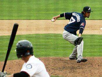 """日本で戦力外、いまやメジャー目前。中後悠平の""""変則左腕""""は通じるか。<Number Web> photograph by Katsushi Nagao"""