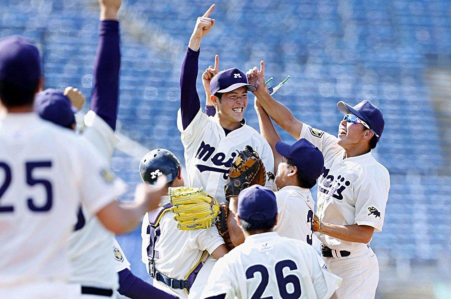 38年ぶりに大学野球制した明治大学。エース森下暢仁を変えた、あの敗北。<Number Web> photograph by Kyodo News
