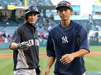 高校の卒業式翌日にヤンキースの練習に参加した加藤。身長はイチローより高い188cm。