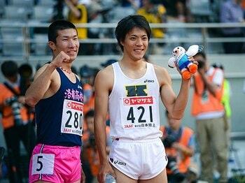 ライバルを無視して敗れた桐生祥秀。「見て見ぬふり」で勝った山縣亮太。<Number Web> photograph by Asami Enomoto