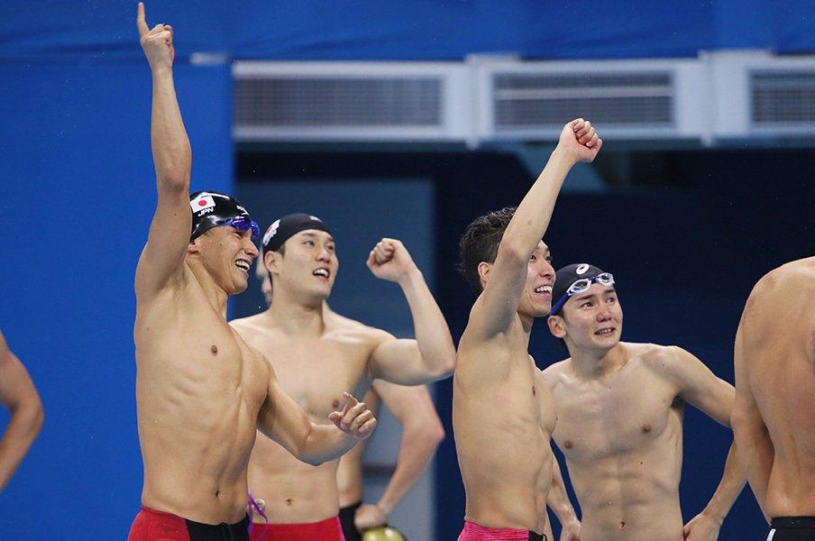 """競泳界の""""鬼門""""自由形リレーで銅。32歳松田が託した東京での金メダル。<Number Web> photograph by Yohei Osada/AFLO SPORT"""