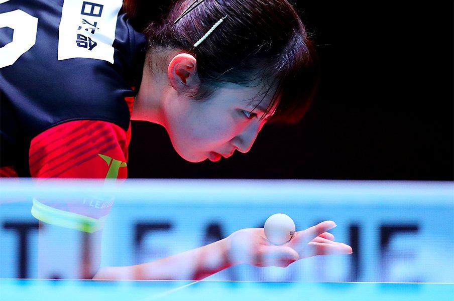 """ファイナルで見せた粘りの卓球。""""危機感""""が早田ひなを強くした。<Number Web> photograph by AFLO"""