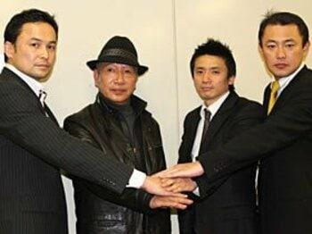 会見での、左からRISE代表の伊藤隆、藤原敏男、山口元気、M-1 MC代表の山本智各氏