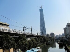 自転車からスカイツリーを仰げば、銀座、浅草、そして業平橋。