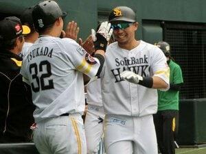中村晃の明るい表情にほっとする。完璧な本塁打に笑って「まあまあ」。