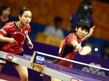世界卓球、日本勢はどう戦っている!?中3ペアの2人が戦いながら得たもの。<Number Web> photograph by AFLO