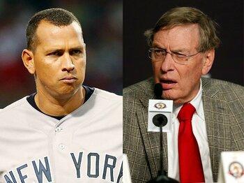 セリグ氏(右)と対決するA・ロッド。MLB側は「訴状の内容を強く否定する」とコメント。
