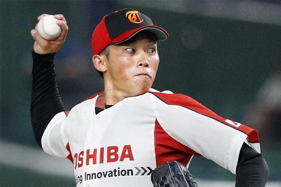 """ドラフト候補投手を東芝で発見。岡野祐一郎は決して""""炎上""""しない。<Number Web> photograph by Kyodo News"""
