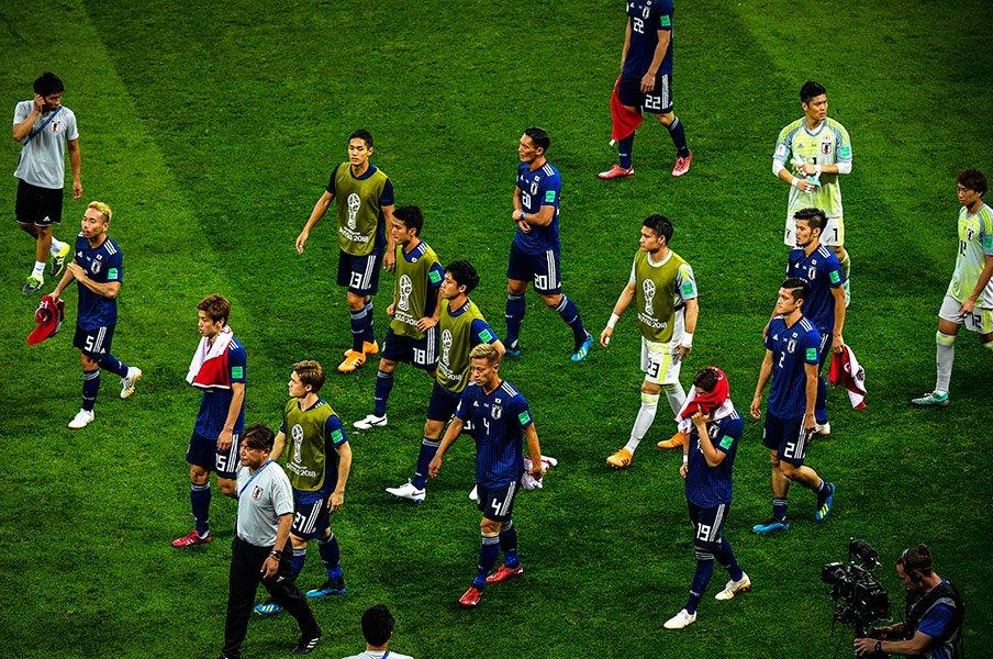 ベルギー戦を終えた日本代表。ロシアの地での4試合は、かけがえのない財産となった。 / photograph by Takuya Sugiyama/JMPA
