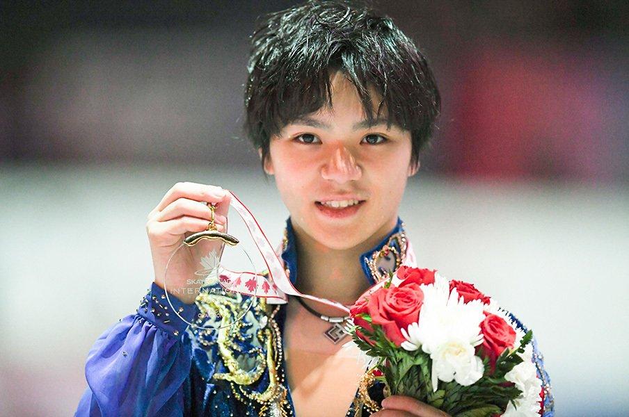 カナダ杯で『君が代』流した宇野昌磨。300点越え圧勝で五輪へ向け視界良好。<Number Web> photograph by Asami Enomoto