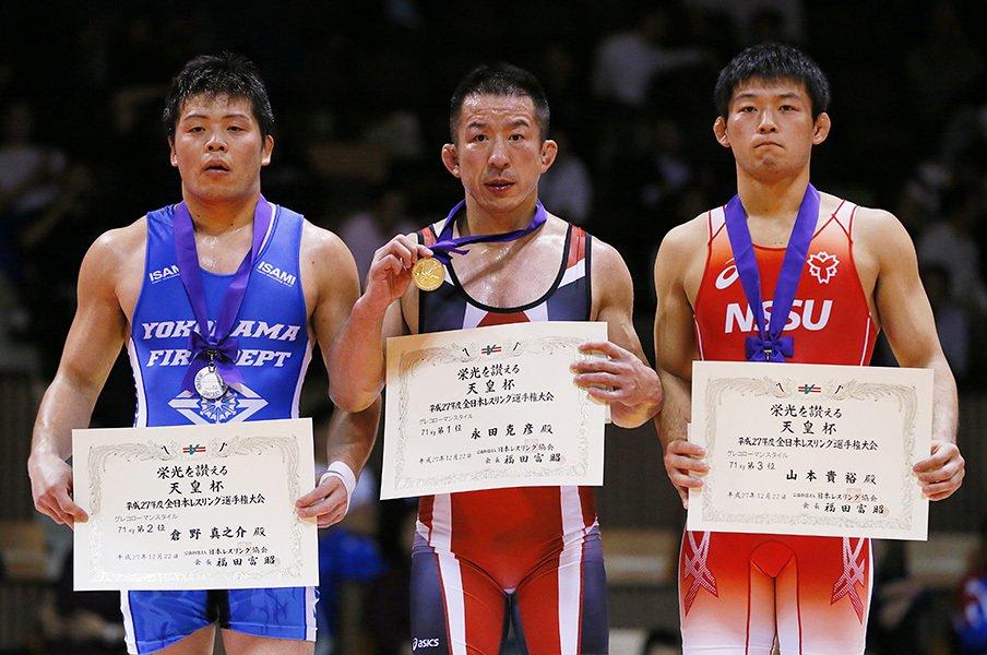 11年ぶりのレスリング復帰戦で優勝。永田克彦が我が子に見せた父の背中。<Number Web> photograph by Yusuke Nakanishi/AFLO SPORT