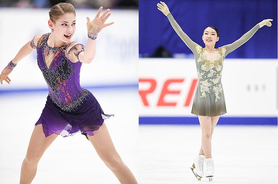 NHK杯、紀平梨花vs.コストルナヤ。トリプルアクセル競演「2つの差」。<Number Web> photograph by Asami Enomoto