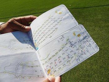 松山英樹が最高の状態でマスターズへ。特別に見せてくれたヤーデージブック。<Number Web> photograph by Sonoko Funakoshi
