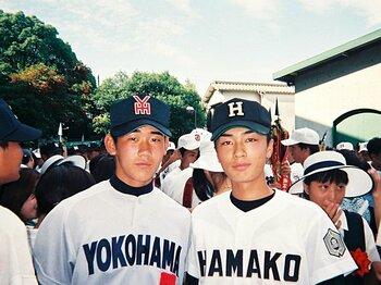 12年前の貴重なツーショット。この大会、松坂は決勝で無安打無得点試合を達成し、横浜が春夏連覇。和田の浜田高は準々決勝で敗退