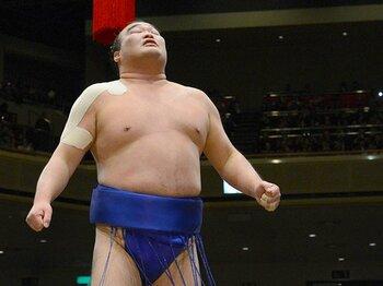 千秋楽は肩すかしで若荒雄を破り、取り組み後、じっと天を見上げた。