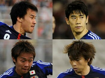 """4人の""""FW""""香川、岡崎、清武、乾。それぞれの葛藤と代表のこれから。<Number Web> photograph by Takuya Sugiyama"""