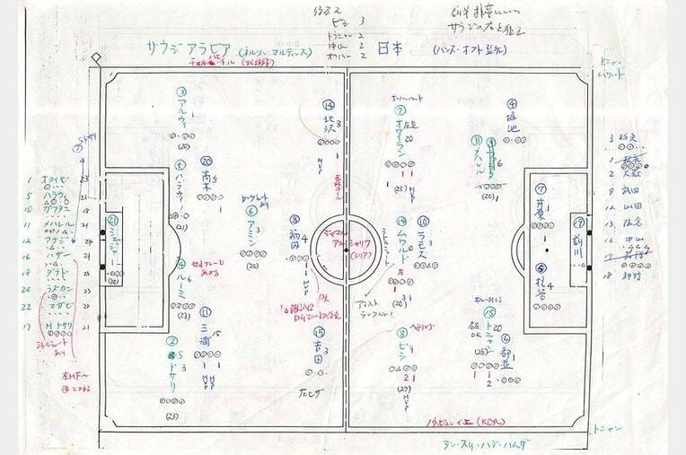 山本氏の'92年アジア杯決勝、中継用メモ。 / photograph by Toshihide Ishikura