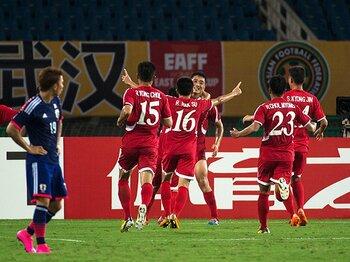 """""""謎のチーム""""サッカー北朝鮮代表。その正体を東アジア杯で追いかける。<Number Web> photograph by Takuya Sugiyama"""