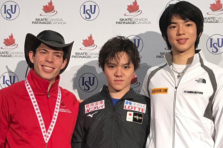 GPシリーズ2戦目で宇野昌磨が優勝。若手とベテランが入り混じる表彰台。<Number Web> photograph by Akiko Tamura