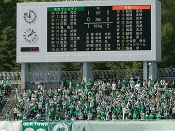 ライバルチームのゴールに一喜一憂!?Jのスタジアムにも欲しい速報掲示板。<Number Web> photograph by AFLO