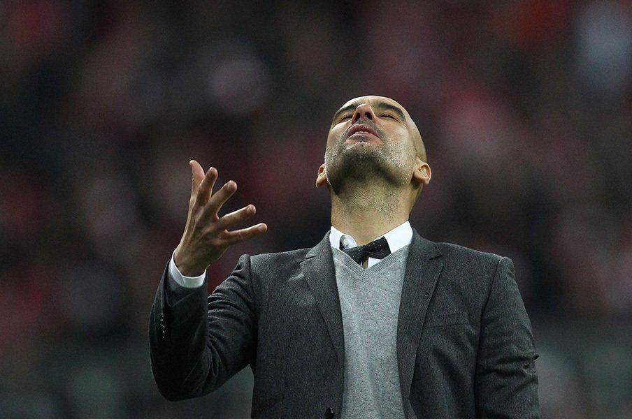 グアルディオラの3年間は成功か?3年連続でCL準決勝敗退の功罪。<Number Web> photograph by A. Beier/Getty Images for FC Bayern
